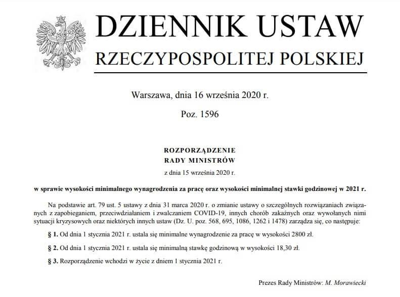 Минимальниая зарплата в Польше в 2021